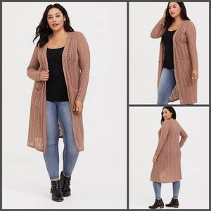 Torrid tan cable knit duster cardigan size 1